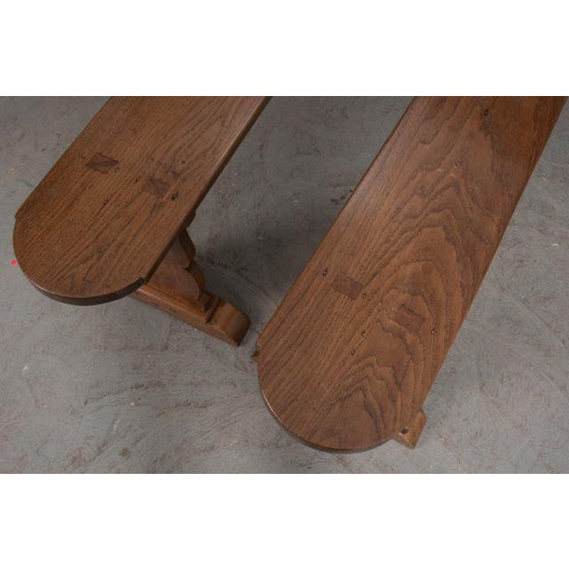 Mid 19th Century Pair of French 19th Century Provincial Oak Benches For Sale - Image 5 of 13