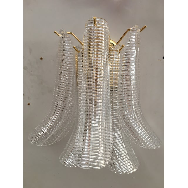 "Transparent Italian Murano Glass ""Selle"" Wall Sconces For Sale - Image 8 of 8"