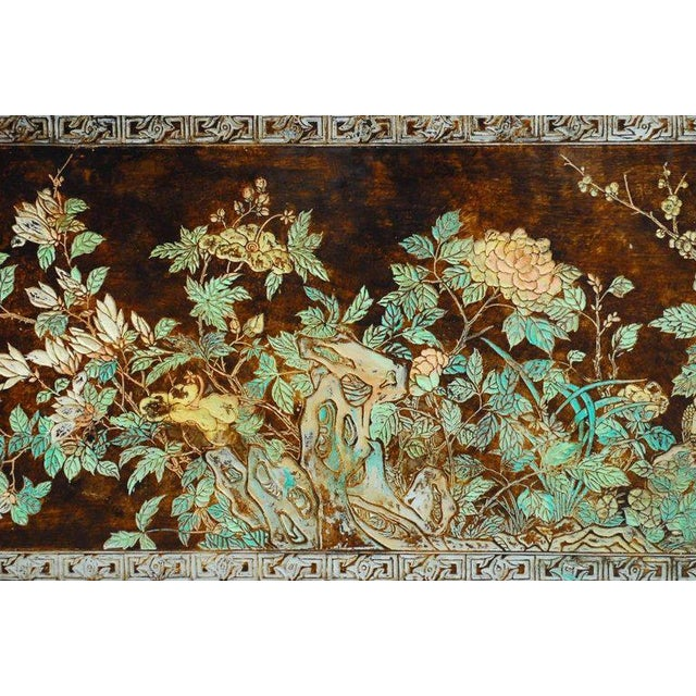 Asian Chinese Floral and Foliate Painted Relief Panel For Sale - Image 3 of 11
