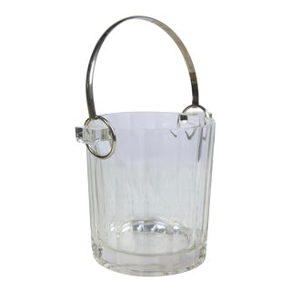 Mid-Century Modern Glass and Chrome Ice Bucket For Sale