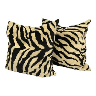 Oversized Velour Tiger Pattern Pillows - A Pair For Sale