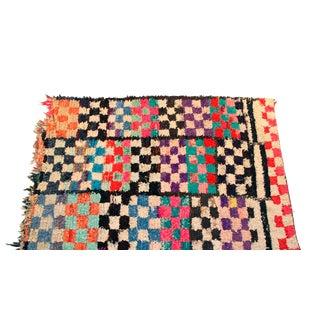 """Vintage Boucherouite Moroccan Carpet - 6'8"""" X 4'8"""""""