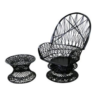 Russell Woodard Spun Fiberglass Lounge Chair and Ottoman or Side Table in Black For Sale