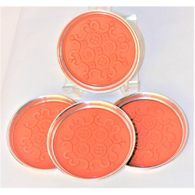 Fantastic Set of 4 RARE Gorham Silver Coasters From the 1960's Spanish Tracery Pattern - Orange Each Features a hard...