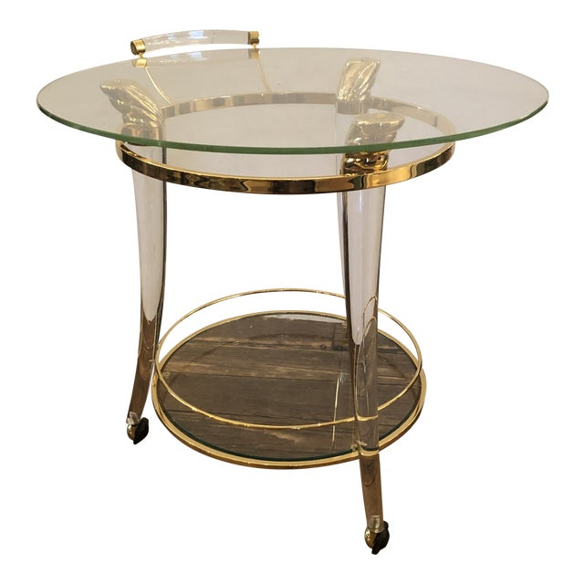French Lucite and Gold Plated Round Bar Cart For Sale