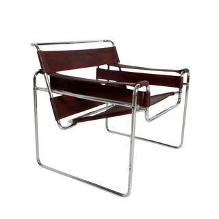 Mid Century Modern Wassily Brown Leather and Chrome Lounge Chair For Sale