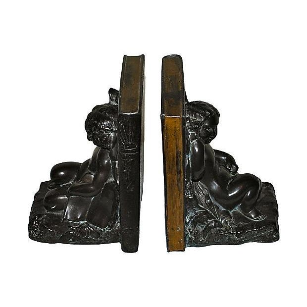1920s Ronson Cherub and Butterfly Bookends - Pair For Sale - Image 4 of 7
