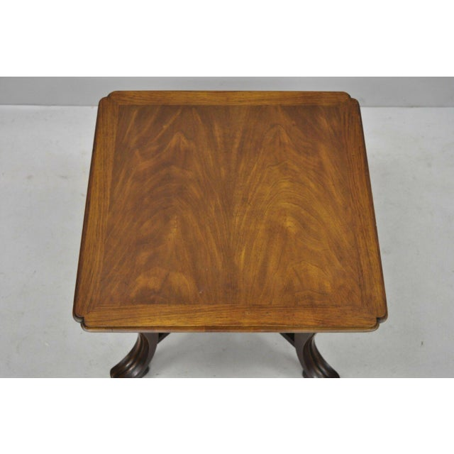 Vintage John Widdicomb walnut low accent side table French Hollywood Regency style. Item features cross stretcher base,...