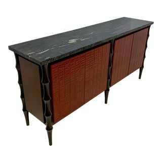 Billy Baldwin Style Faux Crocodile Credenza or Sideboard For Sale