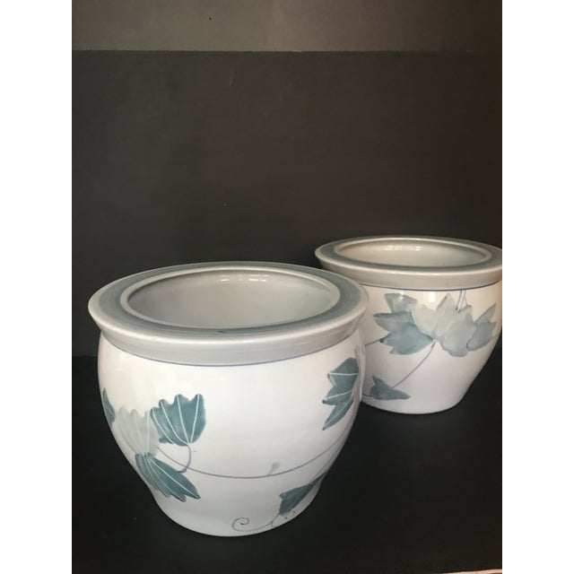 Pair of Chinese Blue & White Ceramic Leaf Planters For Sale - Image 9 of 13