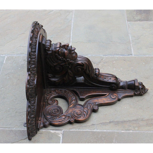 Antique French Oak 19th Century Large Gothic Figural Hand Carved Wall Shelf Corbel Bracket For Sale - Image 9 of 13