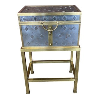 1940s Italian Document Box Silvered and Brass-Trimmed Box and Stand For Sale