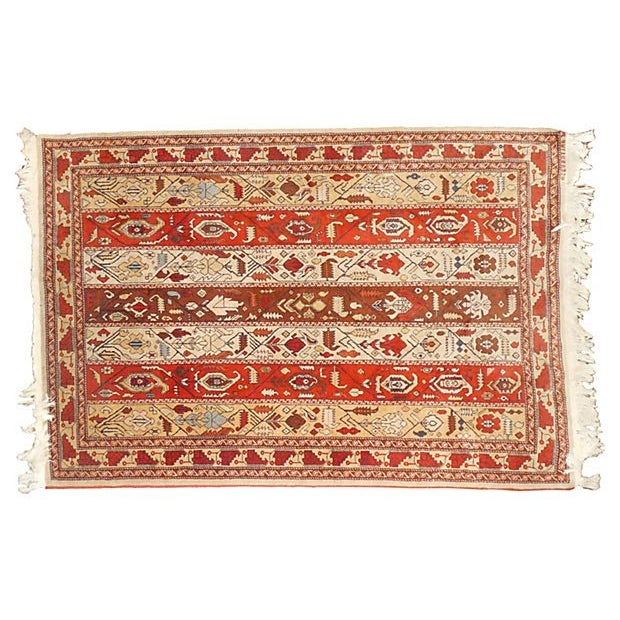 "Vintage Rust Striped Azerbaijani Rug - 4' x 5'8"" - Image 1 of 4"