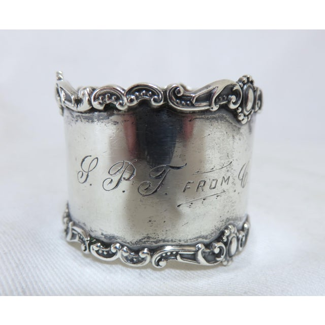 Traditional Antique Victorian Sterling Silver Napkin Ring For Sale - Image 3 of 6