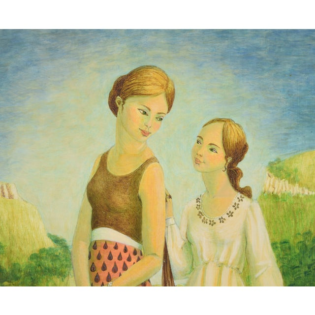 Vintage Mother and Two Daughters on Garden Path Oil Painting For Sale - Image 4 of 9