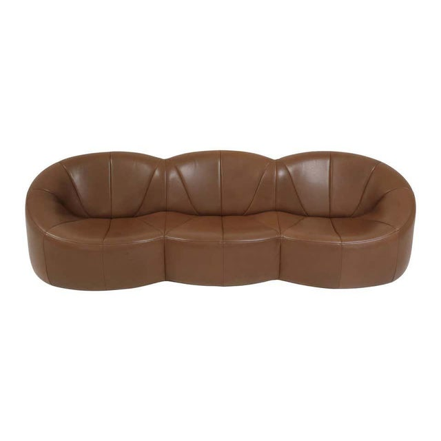Leather Pierre Paulin Leather Pumpkin Sofa For Sale - Image 7 of 7