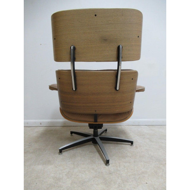 Vintage Mid Century Leather Zebra Wood Lounge Chair & Ottoman - Image 8 of 12