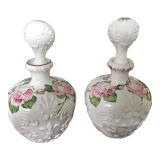 Floral Painted Milk Glass Decanters - a Pair For Sale