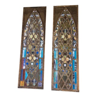 19th Century Danish Modern Stained Glass Windows - a Pair For Sale