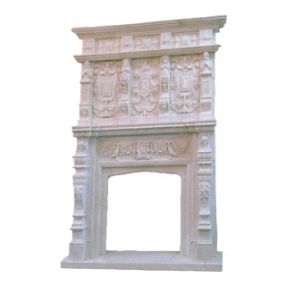 1980s Carved Veined Marble Mantel For Sale