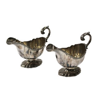 20th Century Traditional Silver Gravy Dishes - a Pair For Sale