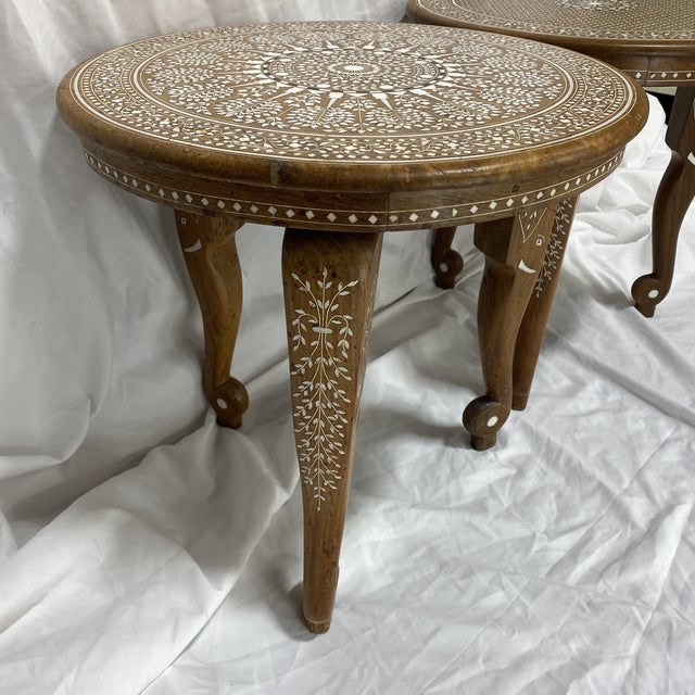 English Anglo Indian Bone Inlay Side Tables - a Pair For Sale - Image 3 of 13