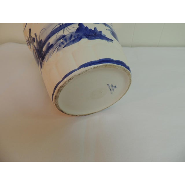 Vintage Blue & White Hand-Painted Ceramic Planter - Image 6 of 6