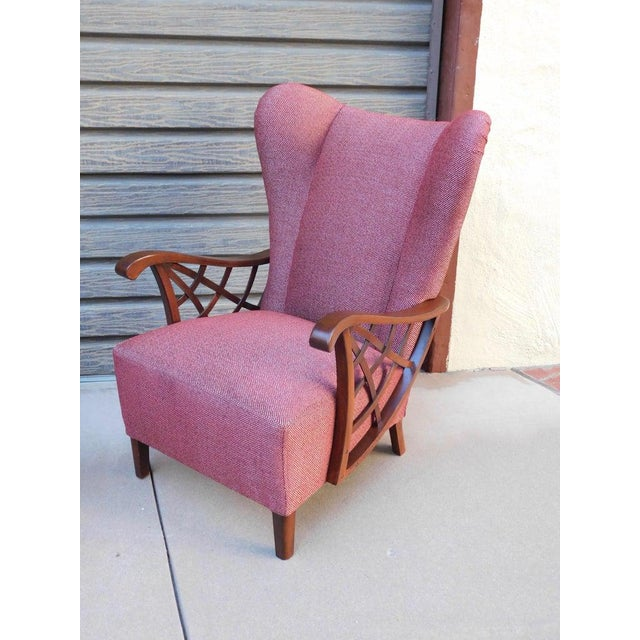 1940s Vintage Swedish Modernist Winged Back Spider Web Armchairs- a Pair For Sale - Image 9 of 13