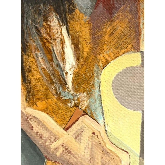 Canvas Mid-Century Mixed-Media Cubist Still Life Oil on Canvas For Sale - Image 7 of 11