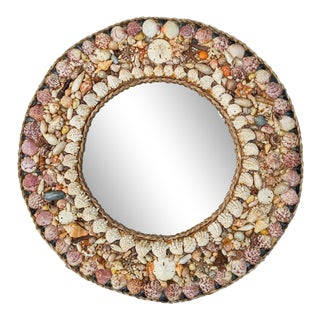 Vintage Round Seashell Shell Encrusted Mirror For Sale
