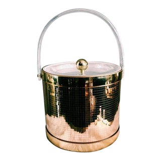 1970s Vintage Georges Briard Hollywood Regency Gold Disco Ice Bucket For Sale