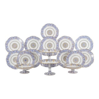 19th Century Sevres Neoclassical Blue and Gold Dessert Service with 16 Pieces For Sale