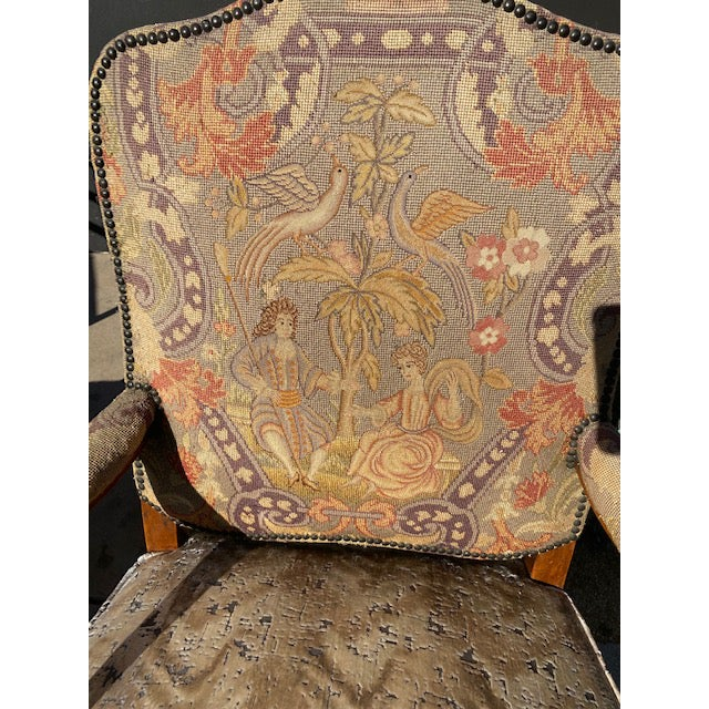 Pair of 19th. C. French Walnut Petite Needle Point Arm Chairs For Sale - Image 10 of 12