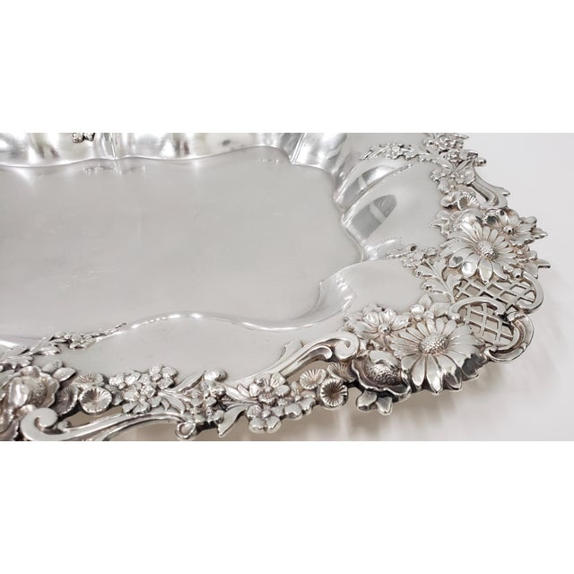 """Late 19th Century Theodore B. Starr 14.5"""" Sterling Sandwich Tray C.1880s For Sale - Image 5 of 11"""