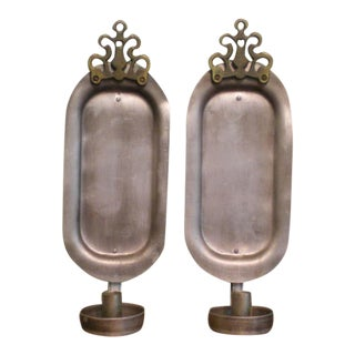 Vintage Pewter Colonial Style Wall Candle Holders- a Pair For Sale