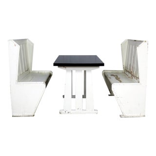 Rustic Arts and Crafts Black and White Diner Booth Banquette Table and Benches For Sale