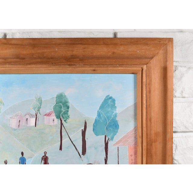 1970s Mid 20th Century Haitian Rural Landscape Painting by Nicolas Dreux, Framed For Sale - Image 5 of 9