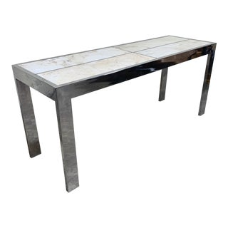 Pace Carrara Marble & Chrome Console Table For Sale