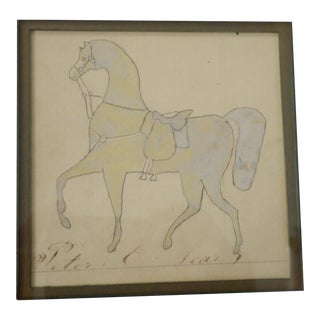 19th Century Early American Gray Horse Drawing on Paper For Sale