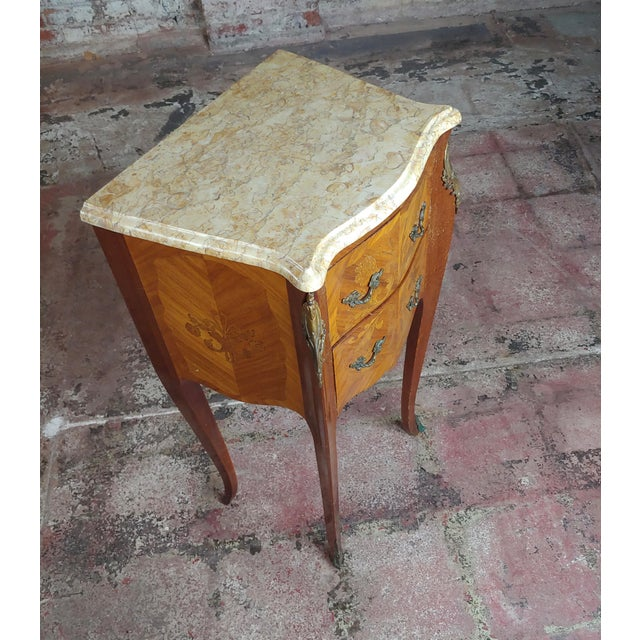 Antique French Marquetry Petit Commodes W/Marble Top - a Pair For Sale - Image 4 of 10