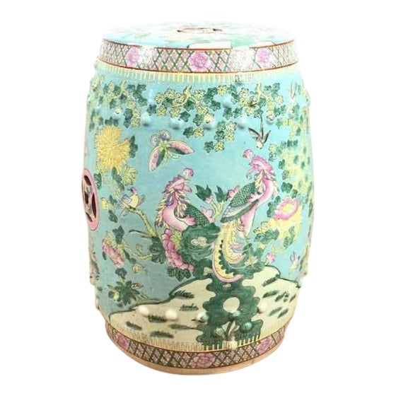 Contemporary Chinese Painted Ceramic Garden Stool | Chairish