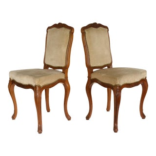 Carved Cherry Antique French Side Chairs - a Pair