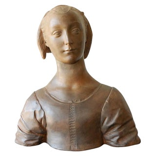 Late 20th Century Renaissance Style Terra Cotta Bust of a Woman For Sale