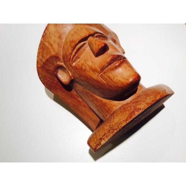 Vintage Fiji Vesi Wood Sculpted Bust For Sale - Image 5 of 9