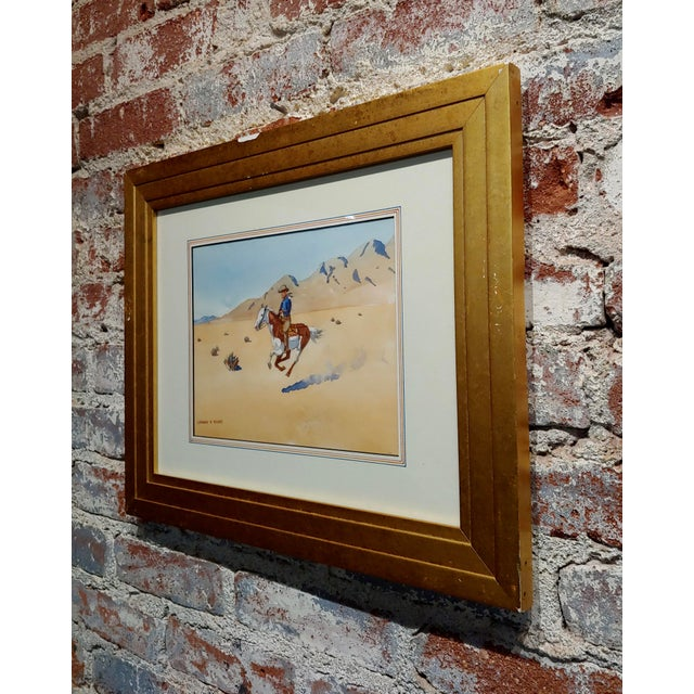 "1930s Leonard Reedy ""Cowboy Desert Rider"" Painting For Sale - Image 5 of 8"