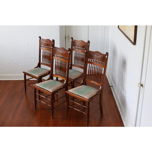 Early 20th Century Antique Stomps-Burkhardt Walnut Dining Chairs - Set of 4 For Sale - Image 10 of 10