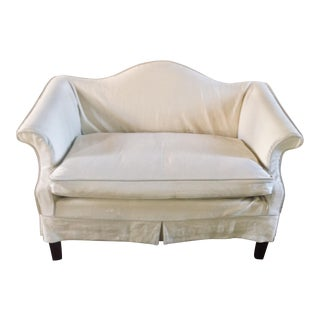 Down Seat Linen Slip Covered Settee/Loveseat For Sale