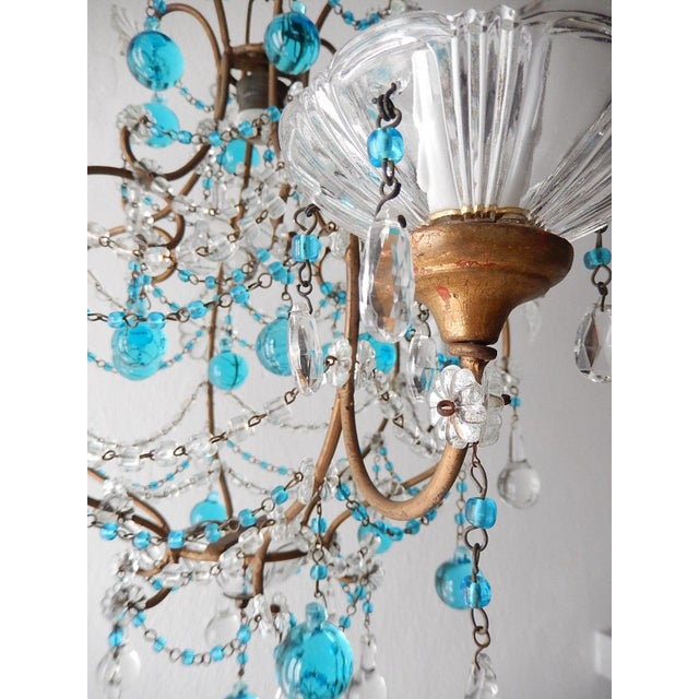 Metal 1920s French Blue & Clear Murano Drops Crystal Giltwood Chandelier For Sale - Image 7 of 13