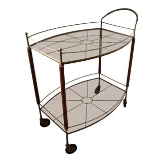 1960's Mid-Century Modern Metal & Teak Oval Glass Bar Cart For Sale