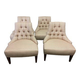 Late 20th Century Baker Furniture Tufted Slipper Chairs- Set of 4 For Sale